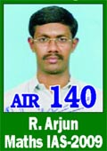 IAS 2009 Successful Student R.Arjun AIR 140