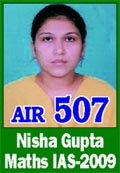 IAS 2009 Successful Student Nisha Gupta AIR 507
