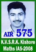 IAS 2008 Successful Student K.V.S.R.K.Kishore AIR 575