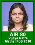 IAS 2010 Successful Student Vijaya Ratre AIR 80