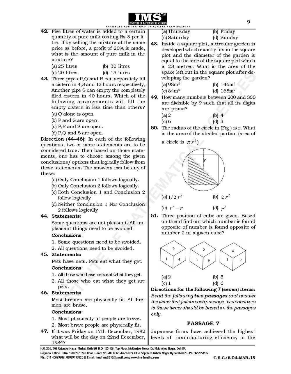 CSAT Test-Series 2015 Free Test Question Paper Page-10