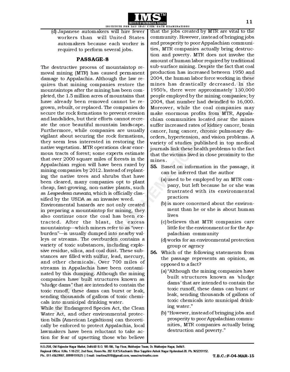 CSAT Test-Series 2015 Free Test Question Paper Page-12