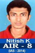 Toppers Results with Mathematics Optional Nitish K AIR-8 IAS-2014