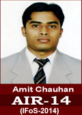 Amit Chauhan IFoS-2014 AIR-14 in IFoS 2014 Examination