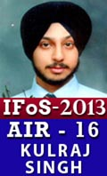 IFoS 2013 Successful Student AIR 16