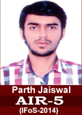 Parth Jaiswal AIR 5 in IFoS 2014 Examination