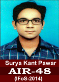 Surya Kant Pawar AIR-48 in IFoS 2014 Examination