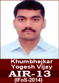khumbhejkar yogesh vijay AIR 13 in IFoS 2014 Examination