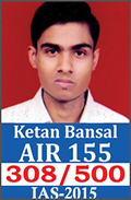 UPSC Civil Service Examination IAS-2015 Successful Student AIR-155