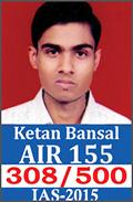 UPSC Civil Service Examination IAS-2015 Successful Student AIR-155