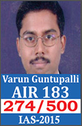 UPSC Civil Service Examination IAS-2015 Successful Student AIR-183
