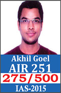 UPSC Civil Service Examination IAS-2015 Successful Student AIR-251